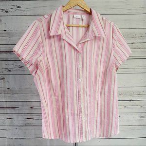 Apt. 9 Stretch pink & cream striped button top/1X